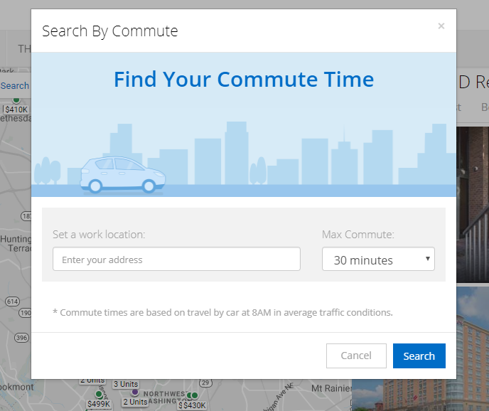 search by commute homesnap
